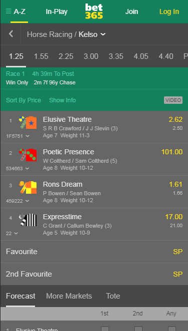 bet365 Mobile Horse Racing 1