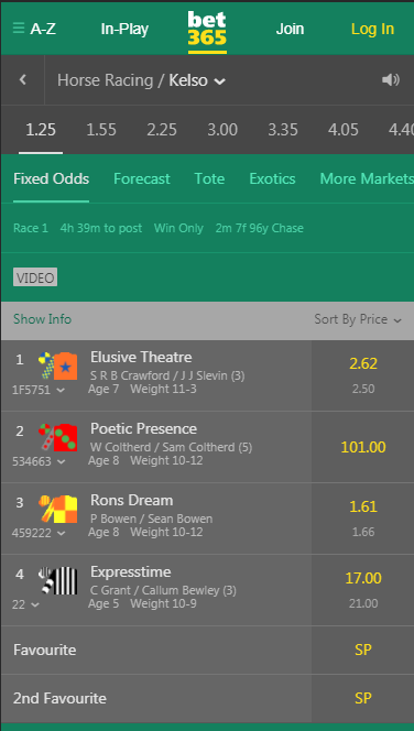 bet365 Mobile Horse Racing 2